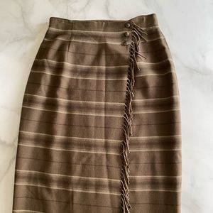 Ralph Lauren Wool Maxi Skirt with Fringe Detail